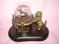 Works Wonderful fish pot glass machine clock with cute cat 7.5#