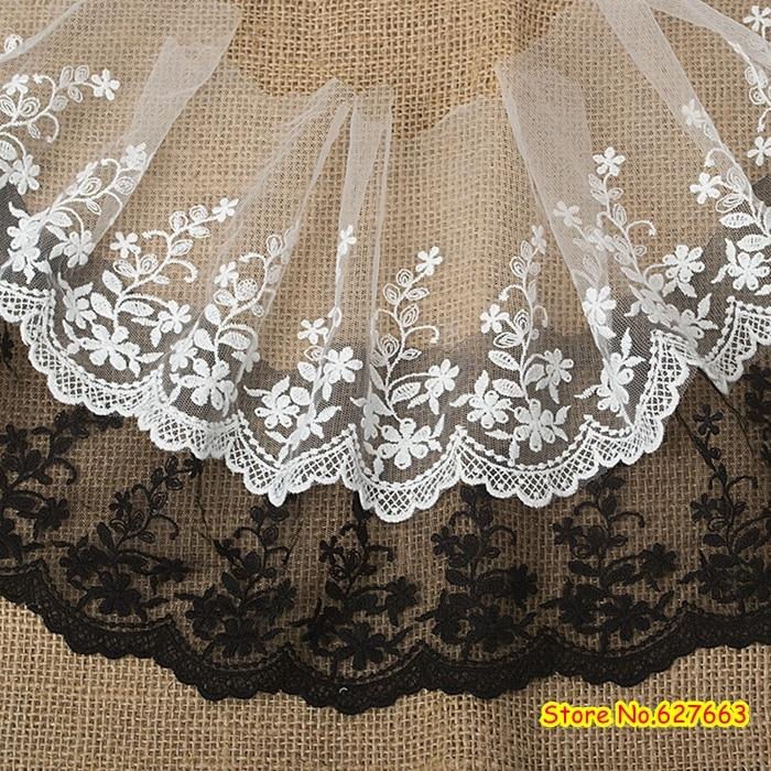 Отделка белым кружевом, марлевое кружево шириной 15см, антикварная отделка, свадебная кружевная ткань с цветочным ретро, бесплатная доставка