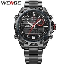 WEIDE Оригинальный Бренд Черный Часы Из Нержавеющей Стали Мужчины 30 М Водонепроницаемый Аналоговый Цифровой Спорт Япония Движение Повседневная Часы Для Мужчин