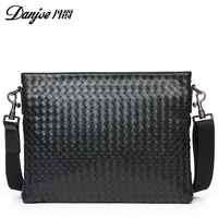 DANJUE Fashion Men Handbags Man Soft Leather Genuine Leather Male Briefcase Trendy Black Laptop Tote Weave Pattern Computer Bag