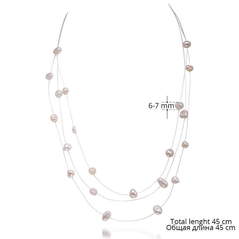 Daimi Ba Dây Vòng Cổ Ngọc Trai 45 Cm Vòng Cổ Choker Cho Người Phụ Nữ Đầm Đơn Giản Phong Cách Nổi Ngọc Trai