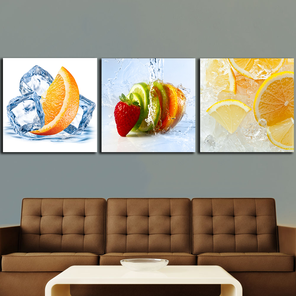 Us 9 3 49 Off 3pcs Lemons Orange Fruit Paintings For The Kitchen Fruit Wall Decor Modern Canvas Art Wall Pictures For Living Room No Frame In
