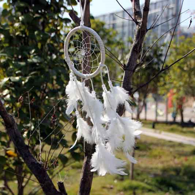Beautiful white dream catcher  Dreamcatcher charm wind chimes Indian Wind Feather pendant home decor gifts
