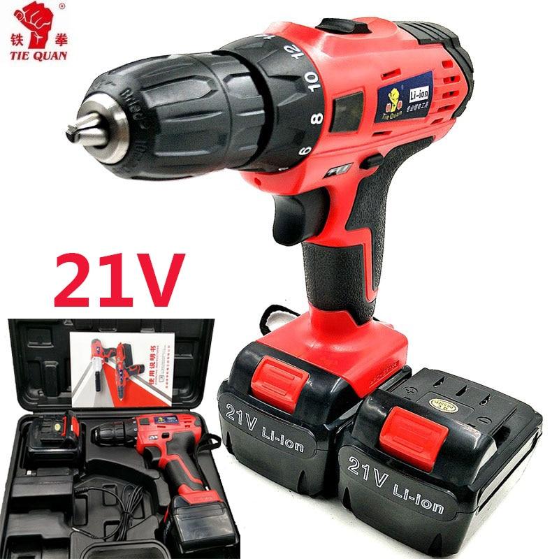 21 v ferramentas de poder Broca elétrica Chave De Fenda Elétrica Furadeira sem fio 2 Baterias Mini Broca de perfuração elétrica caixa de Plástico plugue Da Ue