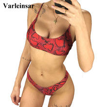 NEW 2019 Sexy Red Print Bikini Women Swimwear Female Swimsuit Two-piece Bikini set Brazilian Bather Bathing Suit Swim Lady V871R