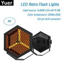 4 единицы светодиодный Ретро вспышки света 3X60 W + 48X0,5 W RGB 3IN1 Светодиодный прожектор плоских параллельных лучей Dj стирка освещение для создани