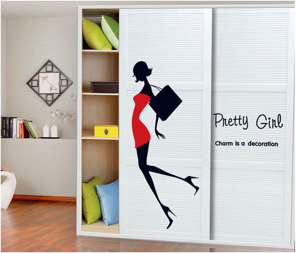 Fundecor Urban Fashion Girl Wall Stickers Shop Window Glass Room Bedroom Wall Decals Home