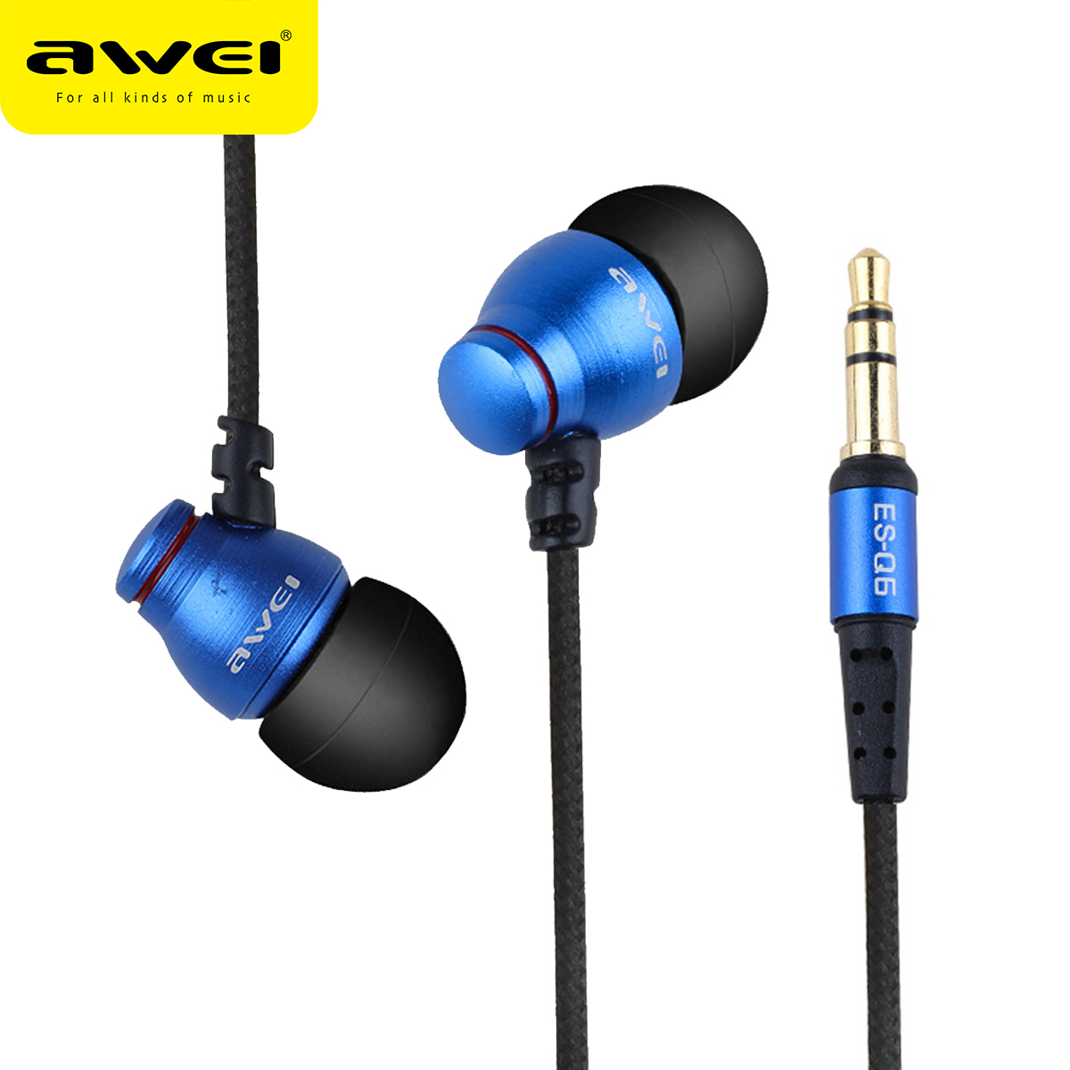 AWEI Q6 Wired Headphone Stereo In-Ear Earphone Super Bass HIFI Sound Headset For Noise Canceling Headphone Phone fone de ouvido baseus h03 in ear wired earphone headphone stereo hifi in line headset with mic for iphone xiaomi fone de ouvido kulakl k