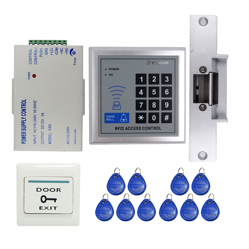 Wholesale Cheap Rfid Door Access Control System Kit + Strike Door Lock + ID Reader Keypad + Exit Button IN STOCK Free Shipping c3 100 single door high quality access control system one door two way access control panel 1 pc rfid reader 1 pc exit button