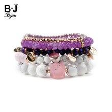 BOJIU 5 Pcs/Set Natural Stone Crystal Women Bracelets White Howlite Pink Labradorite Purple Grape Bead Bracelet BCSET197