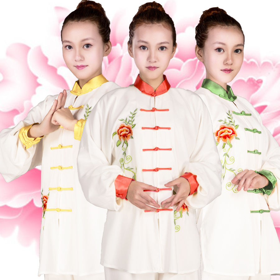 Tai Chi Uniforms For Women Peony Embroidery Costume Martial Art Uniform Kung Fu Taijiquan Clothing Competition Costumes