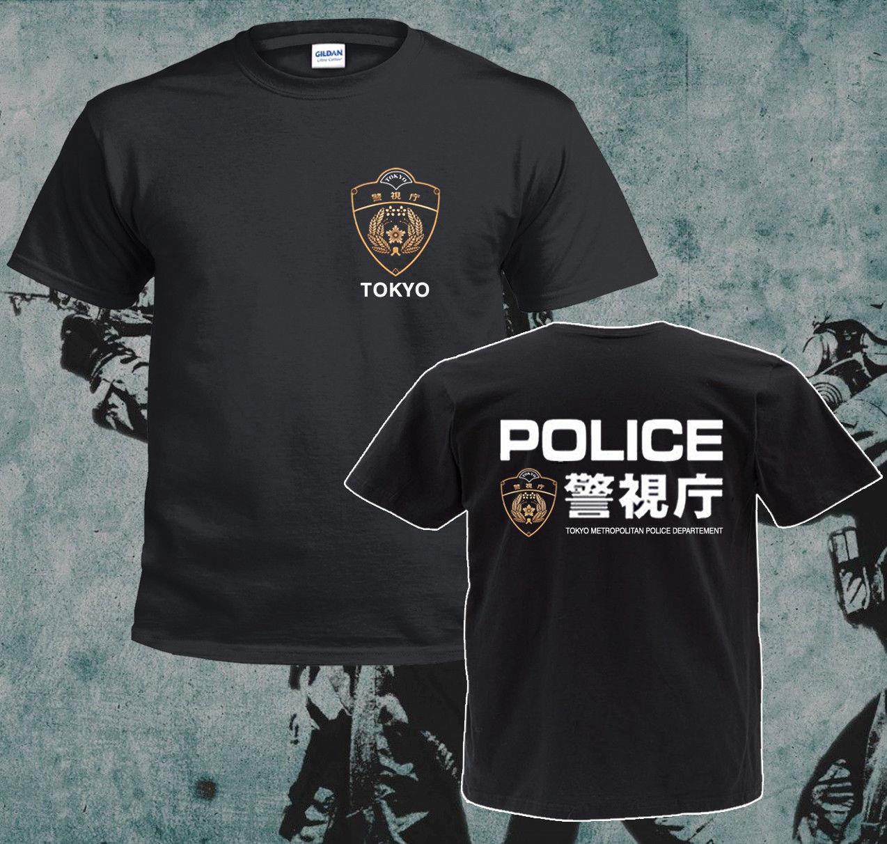 Мужская хлопковая футболка, черная футболка в японском стиле с Отделом полиции Токио, в стиле Харадзюку