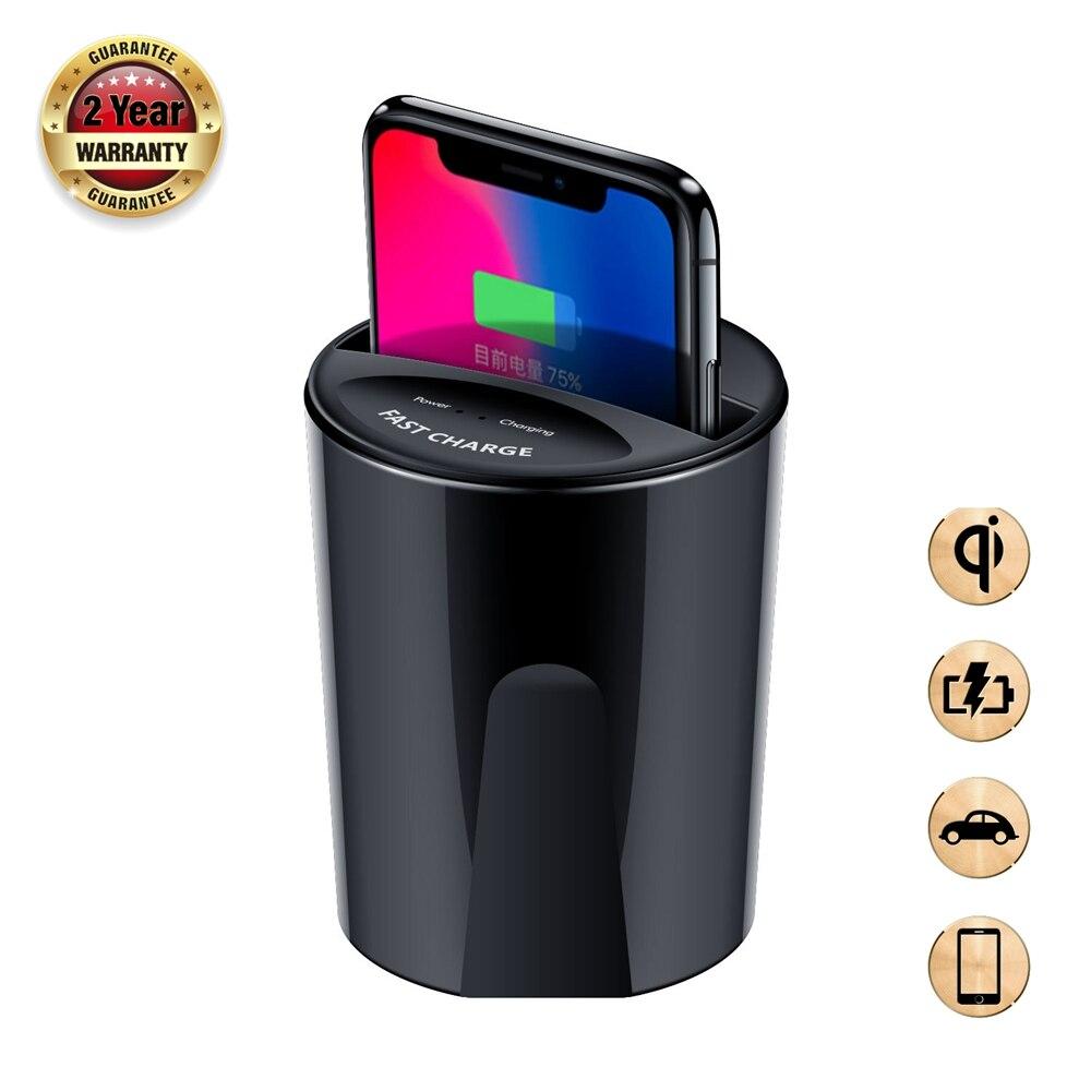 Chargeur de voiture rapide QI sans fil pour Samsung Galaxy S9 S8 S7 S6 Edge iphone 8 10 X chargeur rapide sans fil tasse support de chargeur rapide