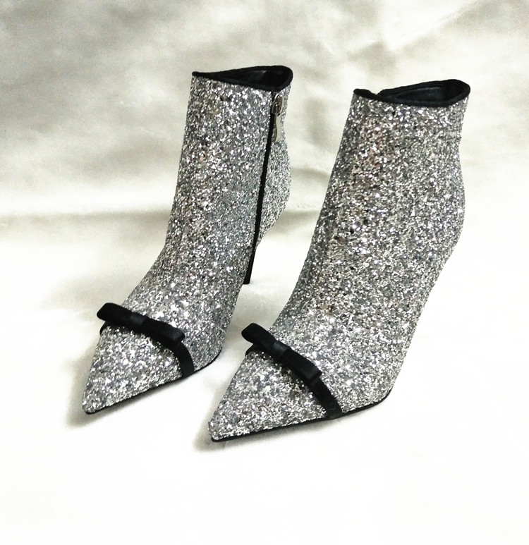 Shiny Glitter Cover Women Sexy Pointy Toe Ankle Boots Cute Bow Ladies Fashion High Heel Boots 2018 Newest Female Dress Boots 9cm