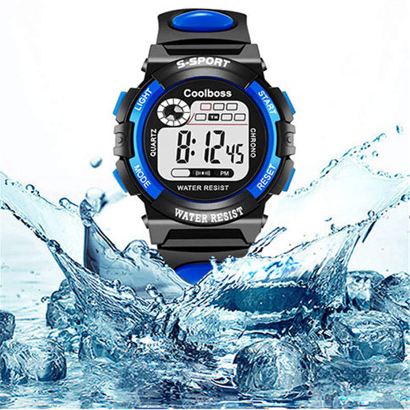 Coolboss Kids Watch Sports Football Watches LED Electronic Digital Wristwatch Children Waterproof Alarm Clock Luxury Brand 2018