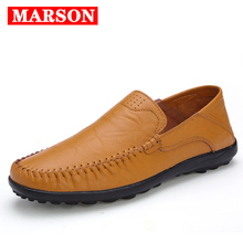 MARSON Men's Casual Shoes Handmade Comfortable Leather Flats Shoe High Quality Loafers Men  Breathable Slip on Shoes Big Size handmade 2017 summer leather shoes men high quality casual shoes brown breathable slip on men shoes lazy loafers