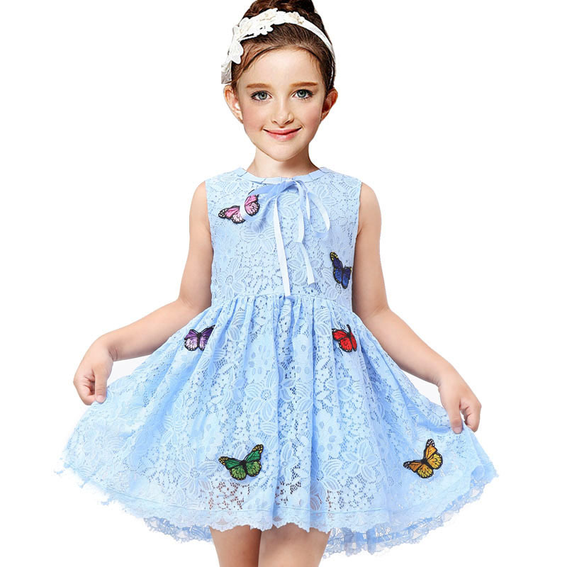 Floral Girls Dresses Sky Blue Moana Vestidos 2018 Children Princess Clothing with Embroidery Butterfly Summer Dress Girl Clothes