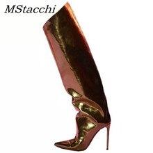 MStacchi pist Stilettos şeker renk ayna deri metalik diz kadınlar üzerinde çizmeler için süper yüksek topuklu diz yüksek çizmeler kadın