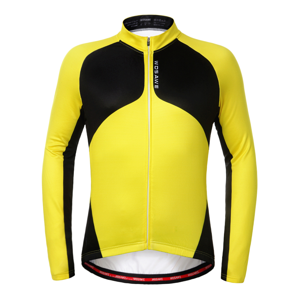 WOSAWE Winter Thermal Fleece Cycling Jersey Ropa Ciclismo Mtb Long Sleeve Men Bike Wear Bicycle Clothing Maillot Blue Yellow black thermal fleece cycling clothing winter fleece long adequate quality cycling jersey bicycle clothing cc5081