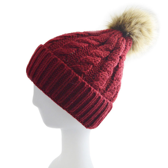 Faux Fur Pom Pom Beanie Hat for Women Cable Knitted Winter Hats Female Cap  Warm Skullies Gorros Wine Red Black Tan Dusty Pink b147f7ad83