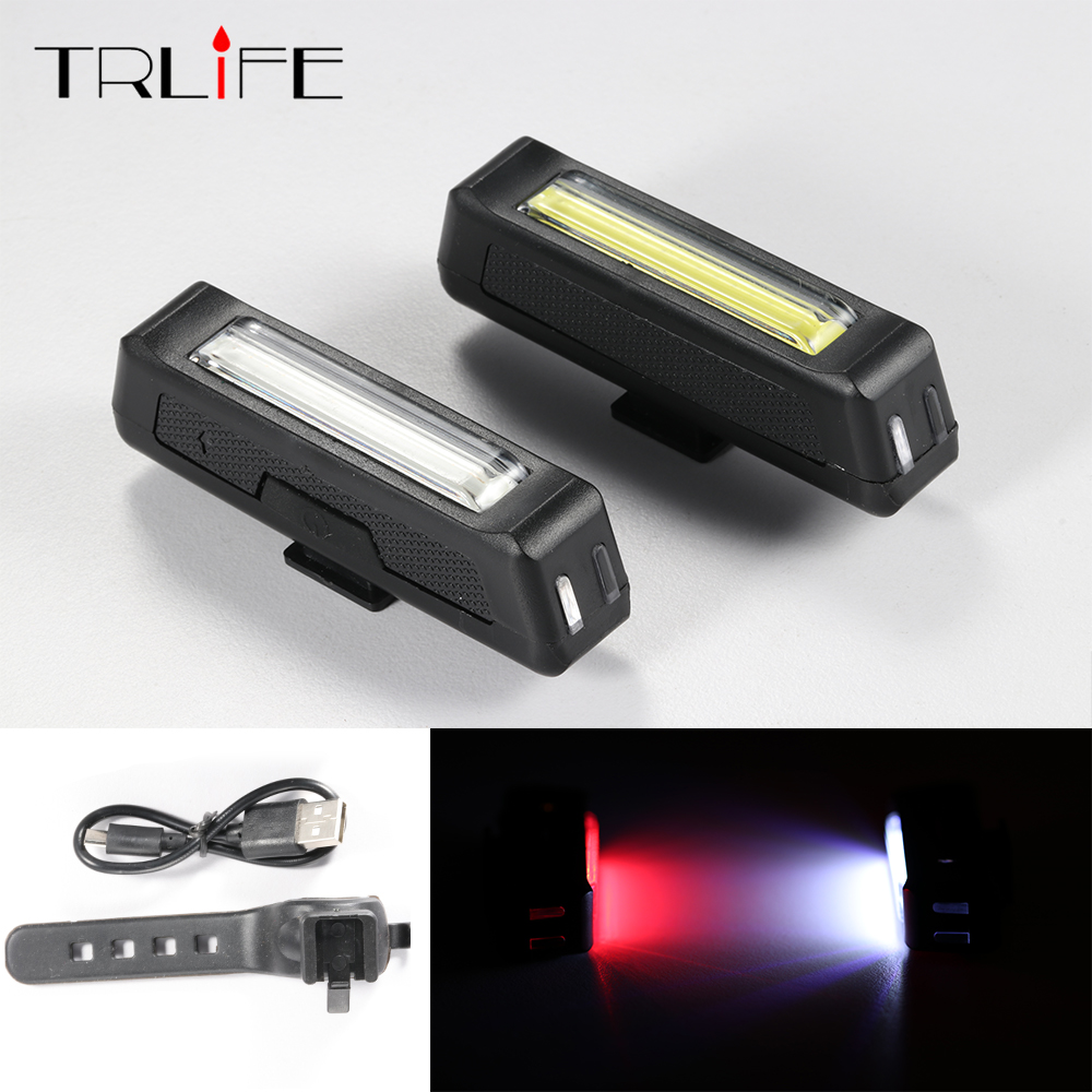 COB Waterproof Comet USB Rechargeable Bicycle Head Light High Brightness Red  LED 100 Lumen Front / Rear Bike Safety Light Pack