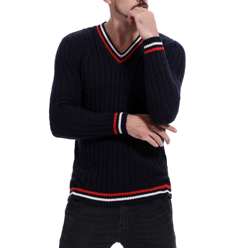 Casual Men's V-Neck Sweater Colorful Stripe Loose Pullover Green Navy Blue Man Tops Plus Size M-2XL
