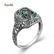 Szjinao женское 925 пробы Серебряное кольцо цветок ручной работы винтажное зеленое изумруд Виктория Вик обручальное кольцо модное ювелирное изделие JE268
