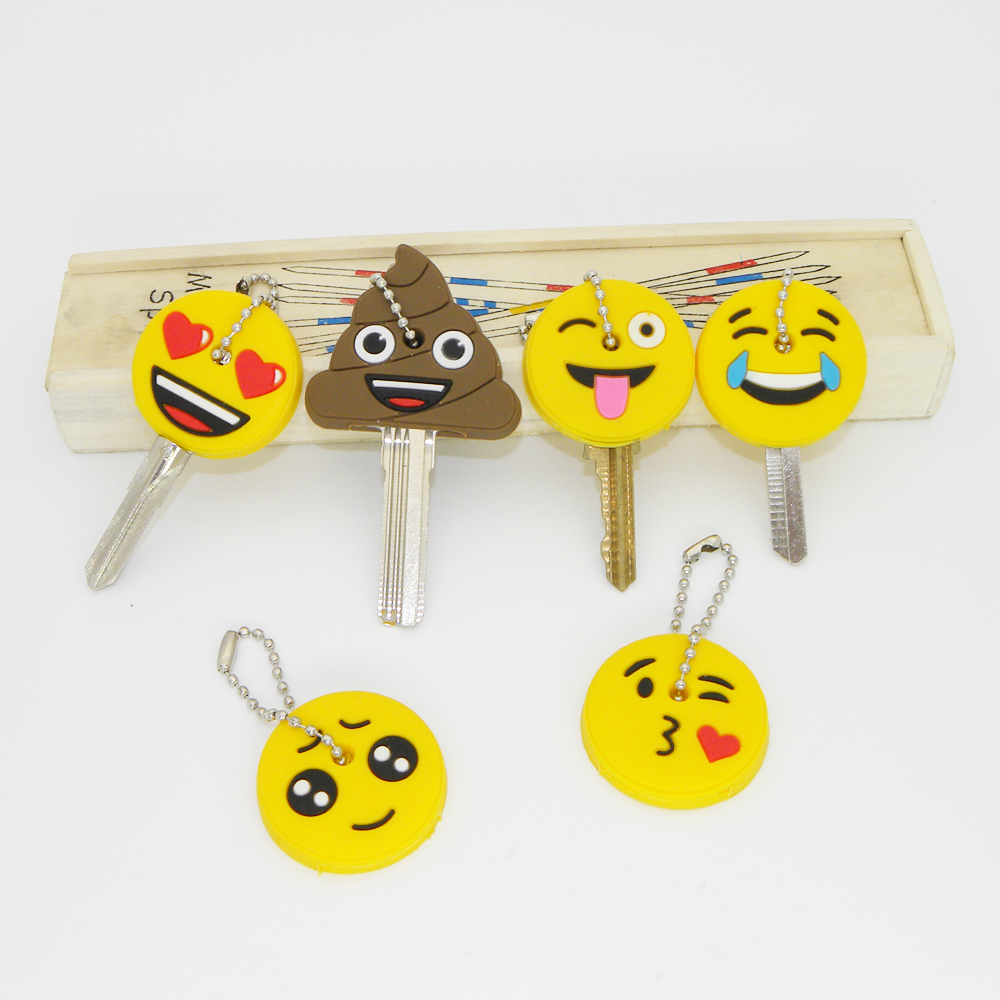 Amusing Stool Key Cap Head Yellow Face Keychain Women Bag Charm Key Holder Key Chain Silicone Key Ring Emoticons Smile Key Cover