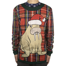 Cute Odobenus Rosmarus Ugly Christmas T Shirt for Men Funny Animal Printed Shirts Kawaii Xmas Tee Plus Size