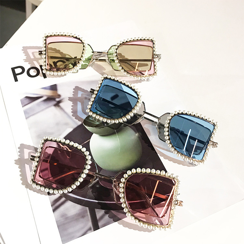 Retro Sunglasses Ladies Shade Vintage Women Fashion UV400 For Small Pearls Decoration