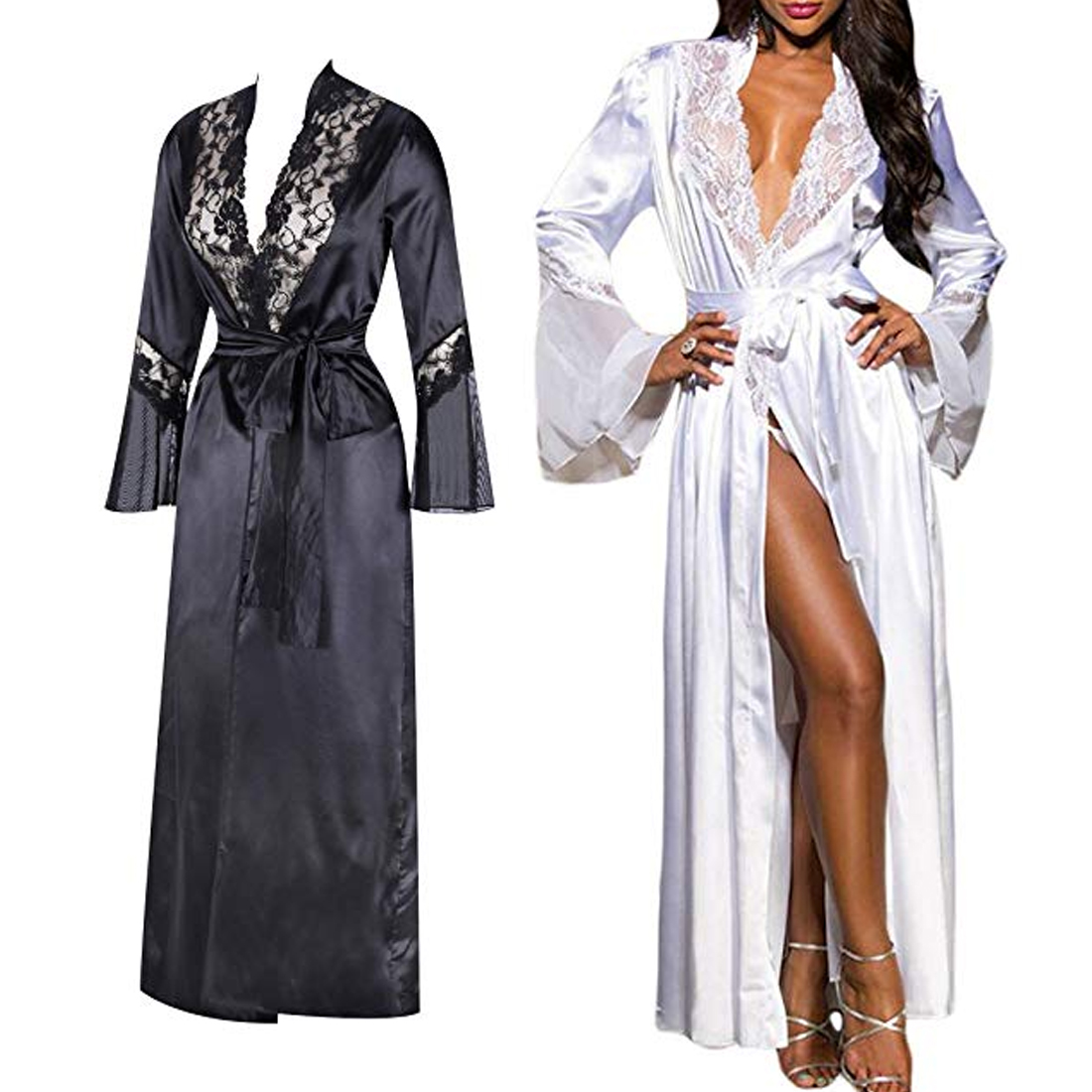 Women Ladies Sexy Long Silk Kimono Dressing Gown Bath Robe Nightgowns Sleepshirts Nightdress Cotton Black White Vestido De Noche