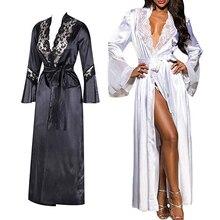Women Ladies Sexy Long Silk Kimono Dressing Gown Bath Robe Nightgowns Sleepshirts Nightdress Cotton Black White Vestido de noche