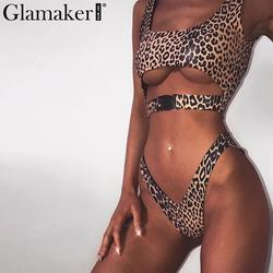 Glamaker Леопардовый принт купальник боди Женский женские сексуальные летние облегающий костюм Женская, с перфорацией купальный костюм из