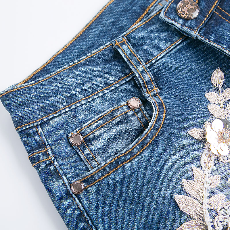 FERZIGE Jeans Women High Waist Embroidery Boot Cut Floral Lace Sequin Stretch Three-dimensional Design Sexy Ladies Push Jeans