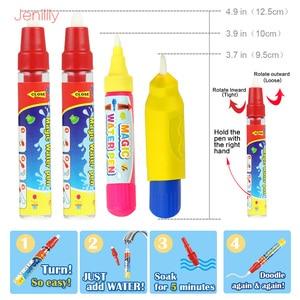 Image 5 - 120*90cm Funny Magic Water Drawing kolorowanka Doodle Mat z 4 magiczny długopis malowanie tablica do pisania dla dzieci zabawki urodziny prezent