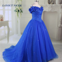 2017 Vestido Longo Royal Blå Princess Ball Gown Prom Klänningar Golvlängd Sweetheart Butterfly Rhinestone Long Evening Dress