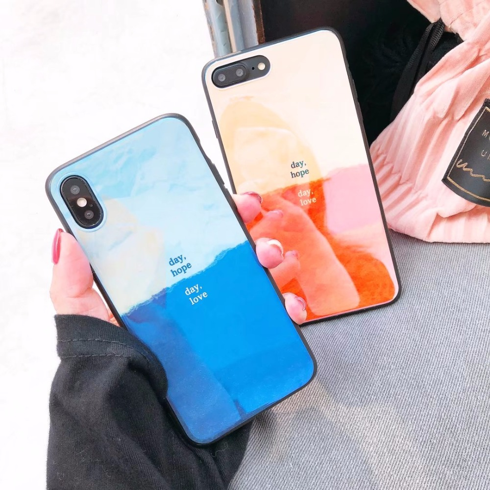 maosenguoji Gradient color <font><b>Blu-ray</b></font> phone shell <font><b>day</b></font> hope Mobile Phone Case for iphone6 6s 6plus 7plus 8plus X fashion Couple case