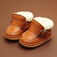 2017 Winter Cowhide Leather Unisex Baby Snow Boots Infant Toddler Shoes Warm Baby Cashmere Short Boots