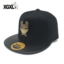 XGXL New Brand Baseball Cap Men Women Metal Super Hero Iron Man Hip Hop Hats Snapback Caps Couple Street Trend Mesh  Hat