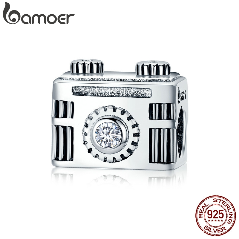 Bamoer original 925 prata esterlina sentimental snapshots câmera charme apto pulseira & colar esmalte preto diy jóias scc516