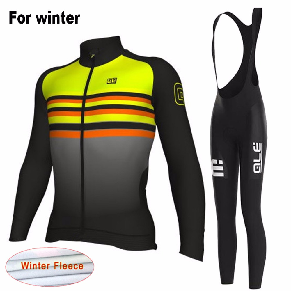 Ale 2017 Winter Cycling Jersey Bib Set Fleece Warm Bike Clothing MTB Bicycle Equipment Clothing Suit