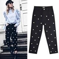 Women S High Waist Straight Loose Baggy Pant Baggy Jeans Studded Pearl Ladies Cotton Pleated Trousers