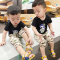 2016 Summer New Boys Sport Suit Fashion Song Zhongji Pattern Children Clothing Set Vest + Camo Shorts Tracksuit, Size 65-105cm
