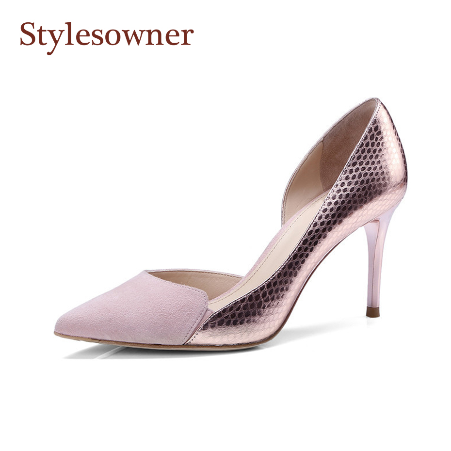 Stylesowner Lady Shoes Shallow Mouth Pointed Toe OL Sapatos Mujer Pink Black Side Empty Sexy Thin Heel Pumps Female New Shoe 2017 spring and summer new women s shoes female pointed shallow mouth slope with high heel shoe side empty leather woman s shoes