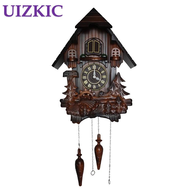 European cuckoo clocks light controlled time real wood manual sculpture, creative living room clock