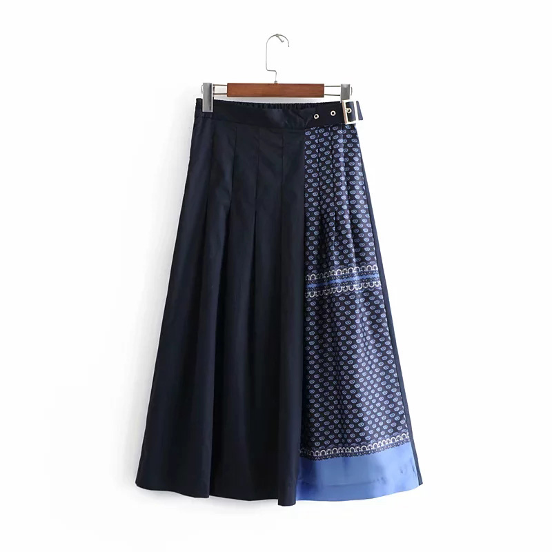 Fashion Women Shorts Skirts Summer A-Line Patchwork Spring Dance Ladies Wind Plaid Skirt Ankle-Length Nationality Female Skirts