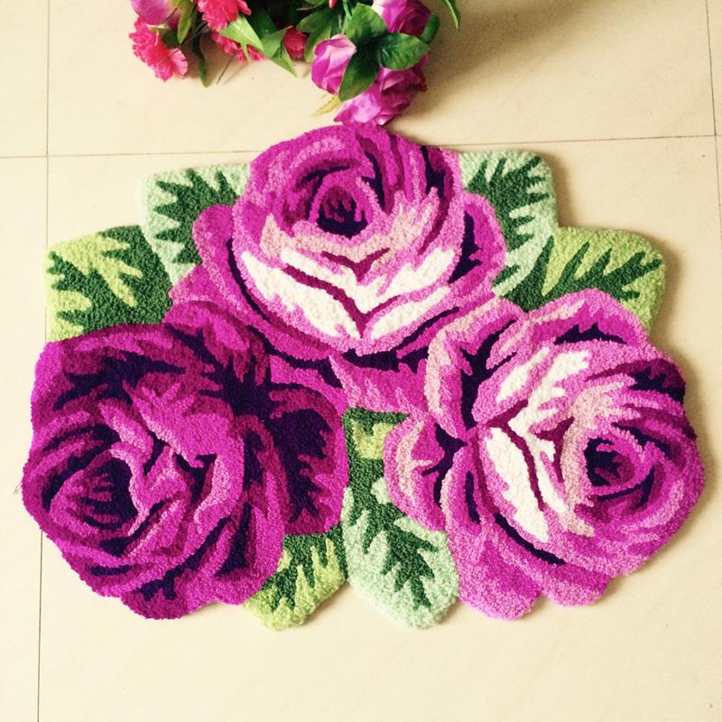 Hot Sales High Quality Bedroom Bedside Rose Carpet Blue