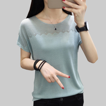 shintimes Elasticity T-Shirt Hollow Out Tshirt Female Floral Knitted T Shirt Women Summer Short Sleeve Casual Tee Femme