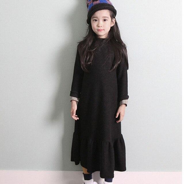 Autumn Girls Dress 2019 Winter Velvet Thick Black Loose Long Dresses Children Party Princess Vestidos Maxi Big Kids Clothes
