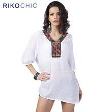 d240f9eba3a06e 3XL Bohemian Style Summer Women Embroidery Blouse Tops boho V-Neck beading white  Casual Blouse Large Size tops Femme C049